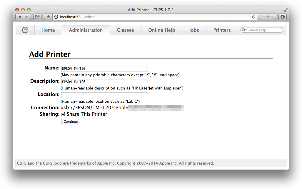 How to connect a USB receipt printer up on Mac OS X – Mike's